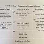 Calendario de pruebas extraordinarias de septiembre